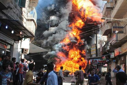 A bomb explodes in Syria.