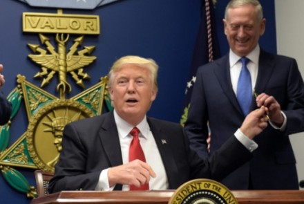 President Donald Trump and incoming US secretary of defence Jim Mattis