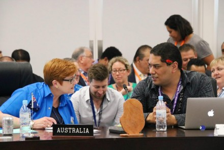 Australian Foreign Minister Marise Payne … hamstrung at the PIF summit in Nauru this week by Australia's hypocritical policies. Image: Pacific Islands Forum Secretariat