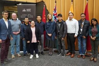 Picture of ASEAN-Australia Defence Postgraduate Scholarship Students, Professor Toni Erskine, Professor Gregory Raymond and Bina D'Costa