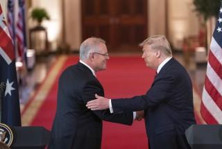 Prime Minister Scott Morrison and President Trump shaking hands
