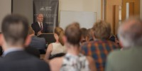 Greg Moriarty speaks to incoming students at Strategic & Defence Studies Centre