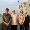 Joint Task Group Commander, Air Commodore Richard Owen, Professor John Blaxland, Ms Imogen Mathew and Dr Bec Strating on HMAS Canberra during the Indo-Pacific Endeavour 2019 (IPE19).